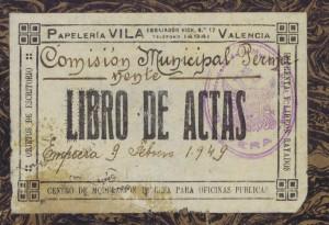 Copia de Detalle cubierta Libro de Actas de la Comisión Permanente de Vera 1949-1952