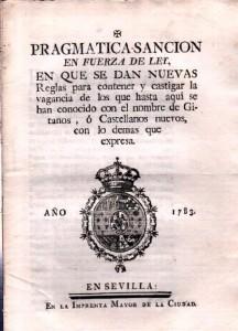 Pragmática contra gitanos 1783