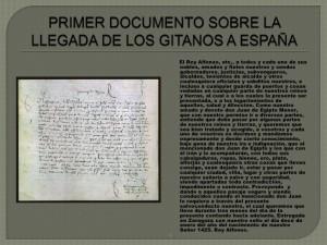 primer documento de la llegada de los gitanos