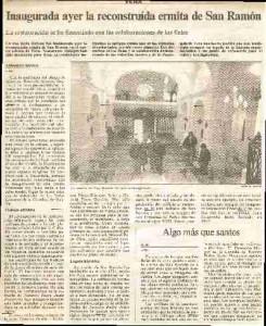 Prensa inauguración S. Ramon Obispo Rosedo