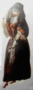 Petimetra española ataviada para una procesión de Semana Santa, según la costumbre del siglo XVIII